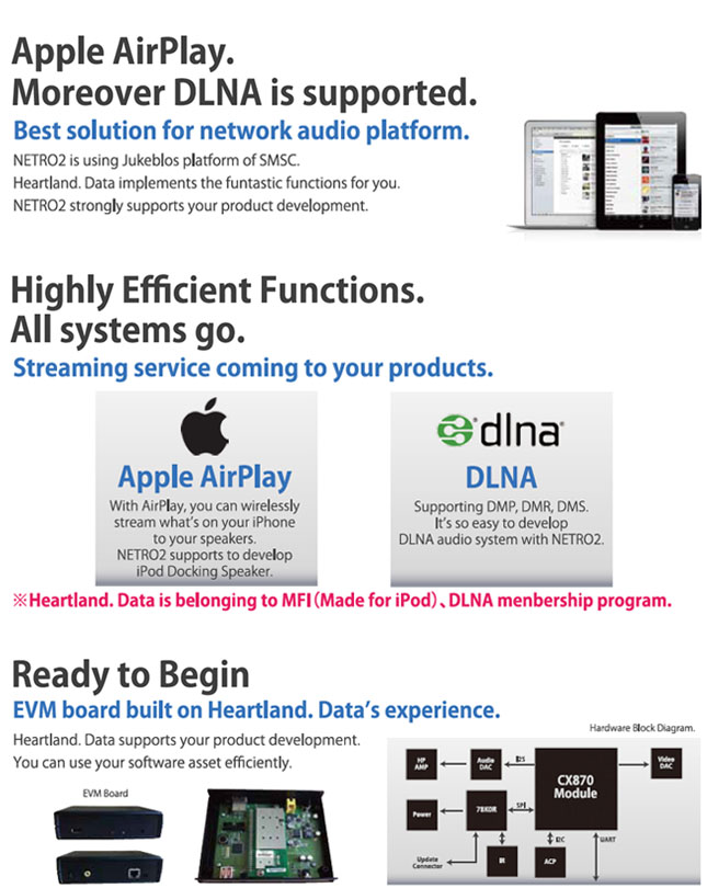 NETRO2 Apple AirPlay。Moreover DLNA is supported. Highly Efficient Functions. All systems go.